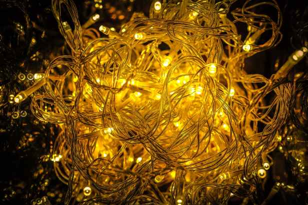 close up of yellow christmas lights